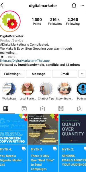 DigitalMarketer Instagram account